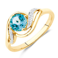 Ring with Blue Topaz & Diamonds in 10kt Yellow & White Gold