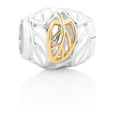 Leaf Pattern Charm with White Enamel in Sterling Silver & 10kt Yellow Gold