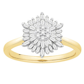 Cluster Ring with 0.38 Carat TW of Diamonds in 10kt Yellow & White Gold