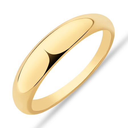 Narrow Polished Dome Ring in 10kt Yellow Gold