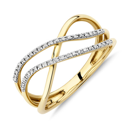 Crossover Ring with Diamonds in 10kt Yellow Gold