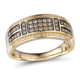 Ring with 0.50 Carat TW of Enhanced Brown Diamonds in 10kt Yellow Gold