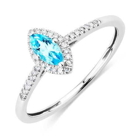 Ring with Blue Topaz & Diamonds in 10kt White Gold