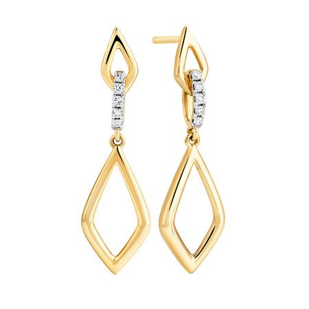 Drop Earrings in 0.10 Carat TW of Diamonds in 10kt Yellow Gold