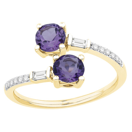 Ring with Amethyst & 0.12 Carat TW of Diamonds in 10kt Yellow Gold