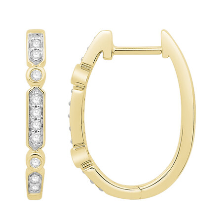 Huggie Earrings with 0.15 Carat TW of Diamonds in 10kt Yellow Gold