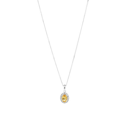 Halo Pendant with Citrine & Diamonds in Sterling Silver