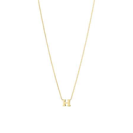 """""""H"""" Initial Necklace in 10kt Yellow Gold"""