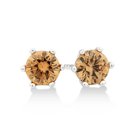 Stud Earrings with Morganite Cubic Zirconia in Sterling Silver
