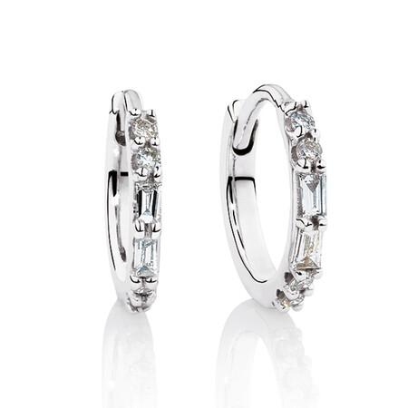 Hoop Earrings with Diamonds in 10kt White Gold