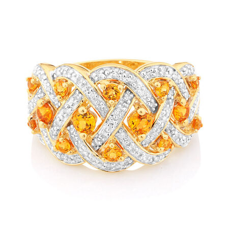 Ring with Created Orange Sapphires & 1/5 Carat TW of Diamonds in 10kt Yellow Gold