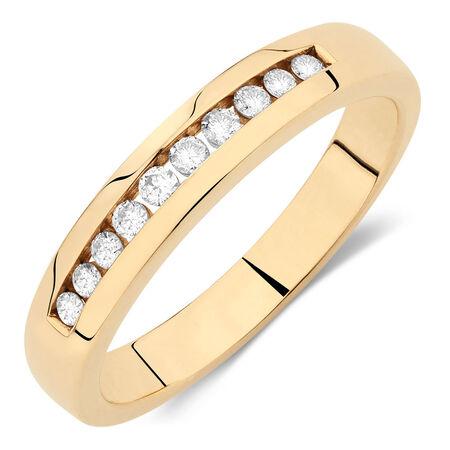 Online Exclusive - Men's Wedding Band with 1/4 Carat TW of Diamonds in 10kt Yellow Gold