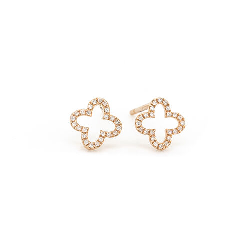 4 Leaf Clover Stud Earrings With Diamonds In 10kt Rose Gold