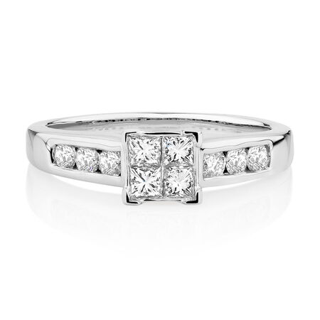 Engagement Ring with 0.64 Carat TW of Diamonds in 14kt White Gold