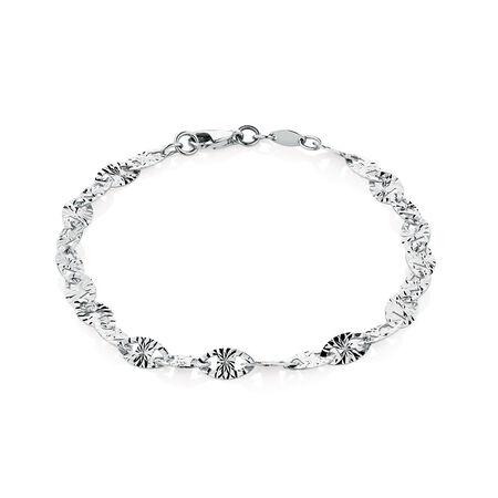 "19cm (7.5"") Patterned Bracelet in 10kt White Gold"