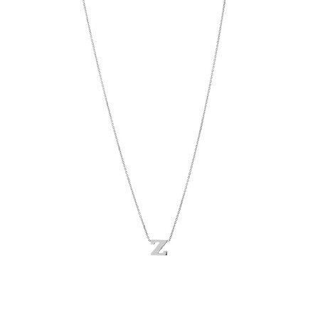 'Z' Initial Necklace in Sterling Silver