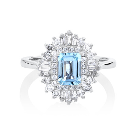 Aquamarine Ring with 0.75 Carat of Diamonds in 10kt White Gold