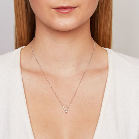 Geometric Triangle Necklace with Diamonds in Sterling Silver