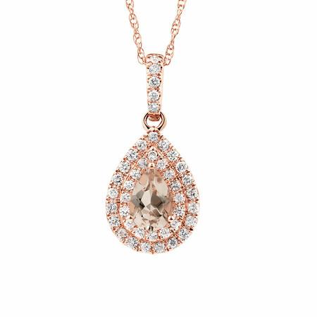 Sir Michael Hill Designer Fashion Pendant with Morganite & 0.20 Carat TW of Diamonds in 10kt Rose Gold