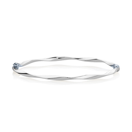 Twist Bangle in 10kt White Gold