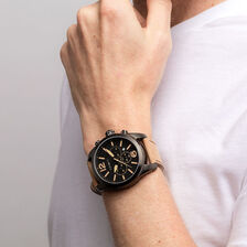 Men's Chronograph Watch in Leather & Stainless Steel