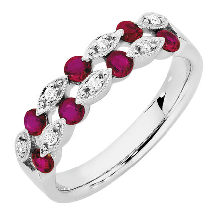 Ring with Rubies & Diamonds in 10kt White Gold