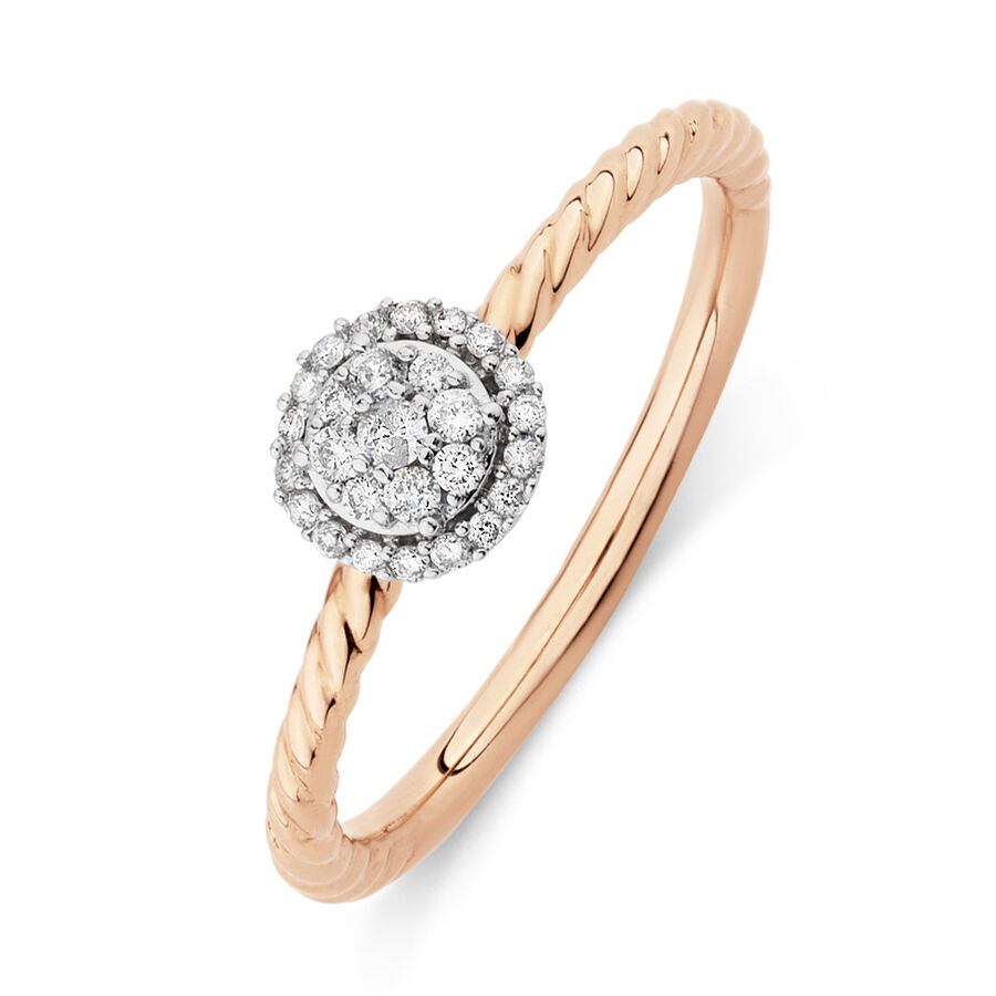 Promise Ring with 0.13 Carat TW of Diamonds in 10kt Rose Gold