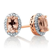 Stud Earrings with Morganite & 0.12 Carat TW of Diamonds in 10kt Rose Gold
