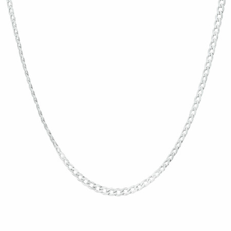 """55cm (22"""") Curb Chain in 10kt White Gold"""