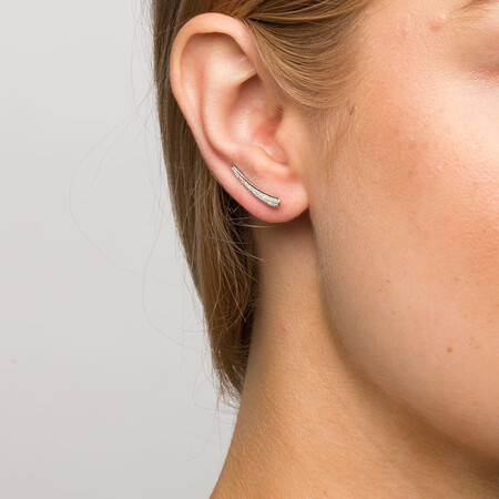 Ear Climbers with Diamonds in Sterling Silver