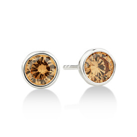 Stud Earrings with Morganite Cubic Zirconia in Sterling Silver