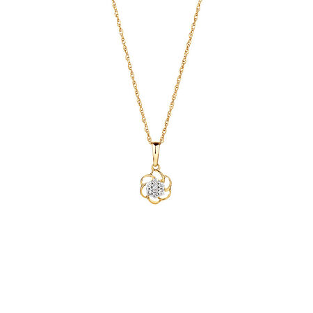 Flower Pendant with Diamonds in 10kt Yellow Gold