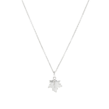 Maple Leaf Pendant with Diamonds In Sterling Silver