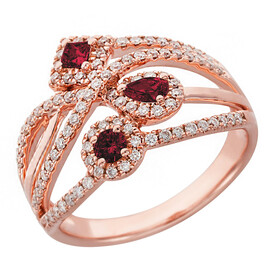 Ring with Ruby & 0.46 Carat TW of Diamonds in 10kt Rose Gold