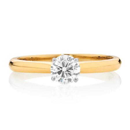 Certified Solitaire Engagement Ring with a 1/2 Carat TW Diamond in 14ct Yellow & White Gold