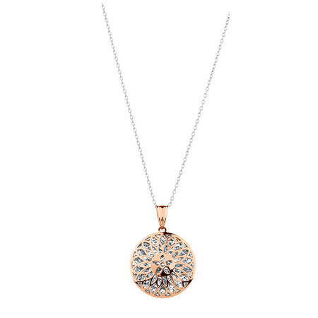 Round Pendant in 10kt Rose & White Gold