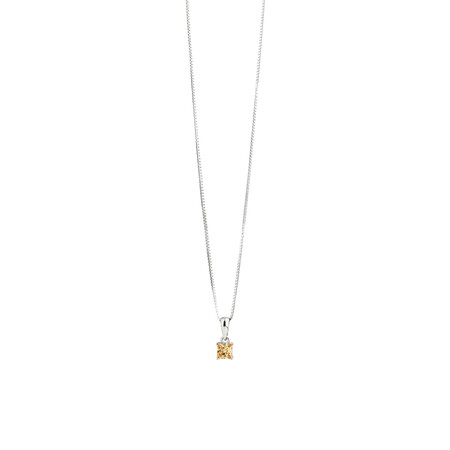 Square Pendant with Morganite Cubic Zirconia in Sterling Silver
