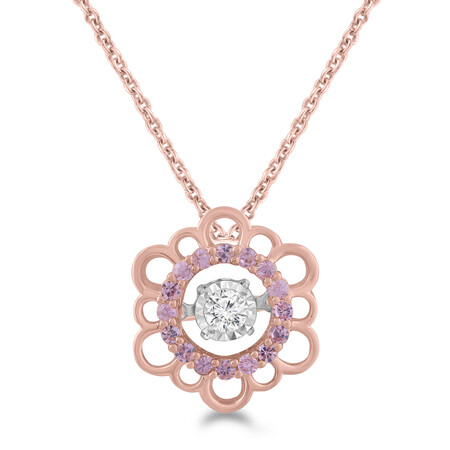 Everlight Pendant with Created Pink Sapphire and Diamond in 10kt Rose Gold
