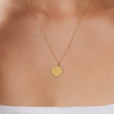 Live, Laugh, Love' Disc Pendant in 10kt Yellow Gold