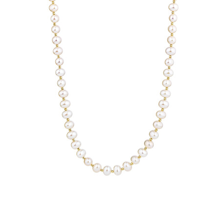 "42cm (16"") Necklace with Cultured Freshwater Pearls in 10kt Yellow Gold"
