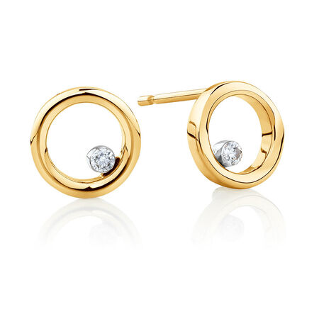Floating Diamond Circle Earrings with Diamonds in 10kt Yellow Gold