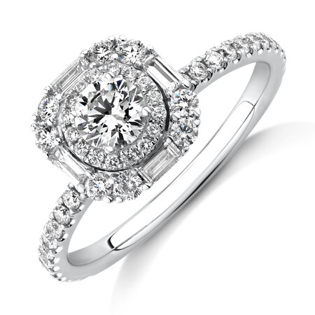 Sir Michael Hill Designer Halo Engagement Ring with 0.79 Carat TW Diamonds in 18kt White Gold