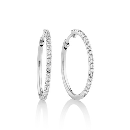 Pave Hoop Earrings with 0.35 Carat TW Diamonds in 10kt White Gold