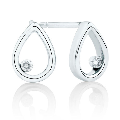 Pear Stud Earrings With Diamonds In 10kt White Gold