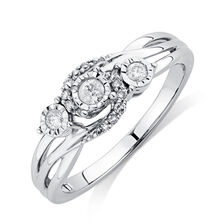 Three Stone Promise Ring with 0.16 Carat TW of Diamonds in 10kt White Gold
