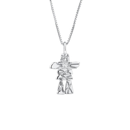 Inukshuk Pendant with Diamonds in Sterling Silver