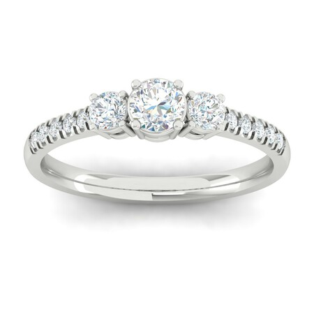 Three Stone Ring with 0.65 Carat TW of Diamonds in 10kt White Gold