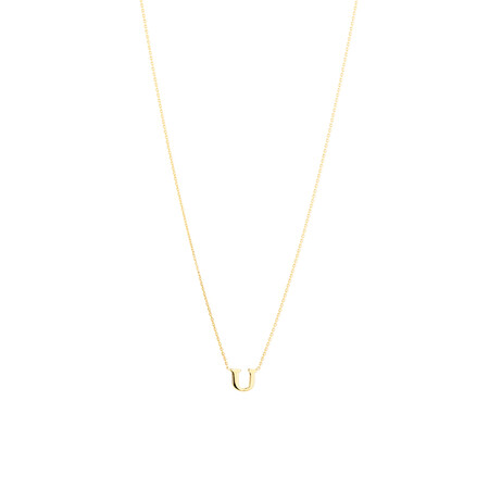 """U"" Initial Necklace in 10kt Yellow Gold"