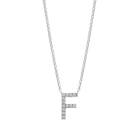 """""""F"""" Initial necklace with 0.10 Carat TW of Diamonds in 10kt White Gold"""