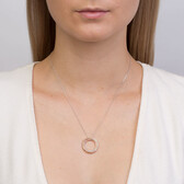 Pendant with Diamonds in 10kt Rose Gold & Sterling Silver